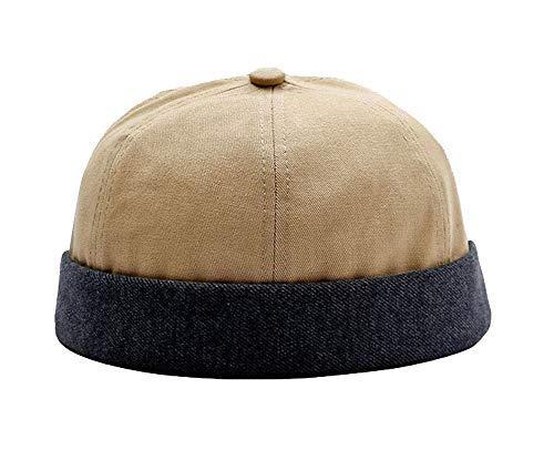 Zegoo Solid Color Cotton Short Beanie Casual Hat Soft Cap Beige ()
