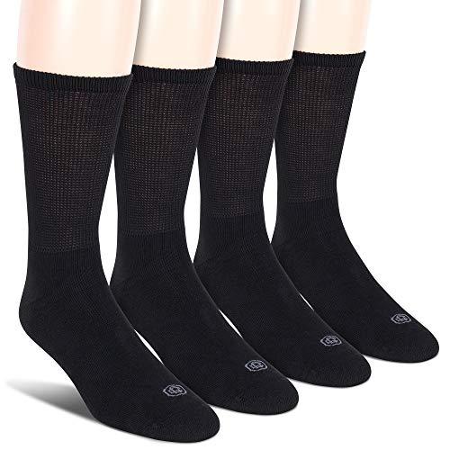 (Doctor's Choice Men's Non-Binding Diabetic Circulatory Full Cushion Crew 4 Pack Black Socks, Shoe Size: 6-12.5 )
