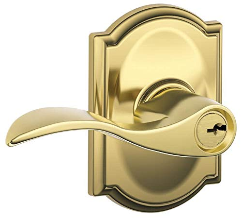 Schlage F51AACC505CAM Lifetime Polished Brass Accent Keyed Entry F51A Panic Proof Door Lever with Camelot Rosette ()