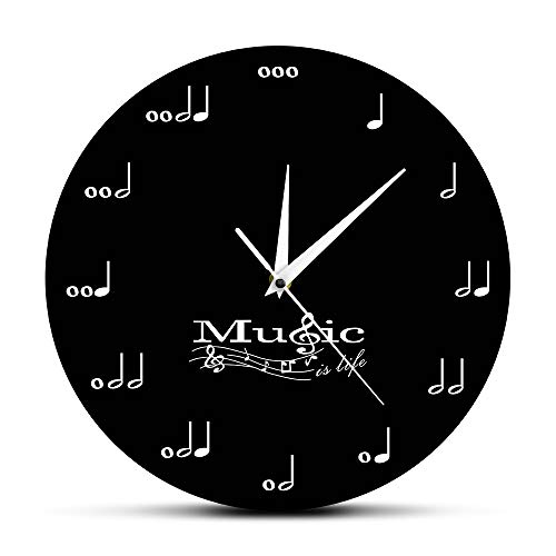 (The Geeky Days Music is Life Inspirational Wall Decor Symphony Musical Wall Clock Treble Clef Music Studio Hanging Watch Musician Gift)