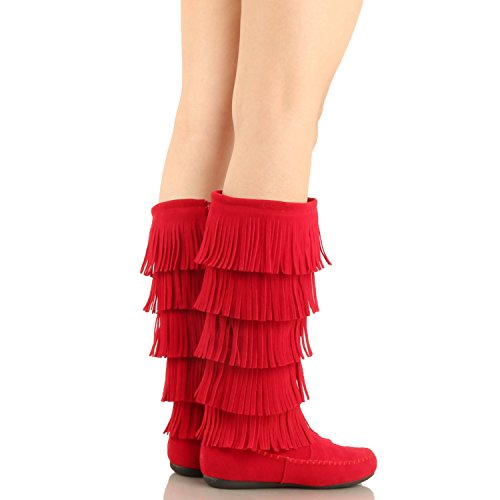 West Blvd Lima - Womens Western Fringe 3-Tier-Mokassin-Flach - Faux Suede Mid Calf Boots Redv1 Wildleder