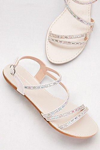 Sandali Con Cinturini Asimmetrici Da Sposa Davids Con Dettagli In Cristallo Stile Atechie1 Bianco