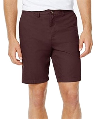 Tommy Hilfiger Mens Khakis Chinos Flat Front Shorts Red (Mens Tommy Hilfiger Khaki)