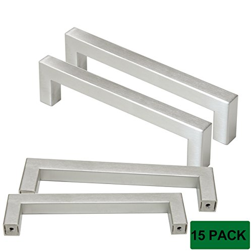 Probrico Cabinet Handles Stainless Steel Square Kitchen Cupboard Handles And Pulls Brushed Nickel Hole Distance 5