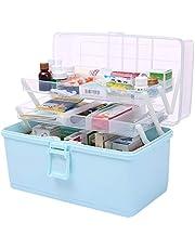 Dittzz Domowa apteka, duże pudełko na lekarstwa 3 poziomy, wielofunkcyjne pudełko do przechowywania z uchwytem do noszenia, 34 x 28 x 22,5 cm