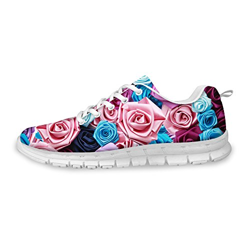 FOR U DESIGNS Stylish Floral Pattern Women's Flex Breathable Mesh Running Shoe Sneaker US 8