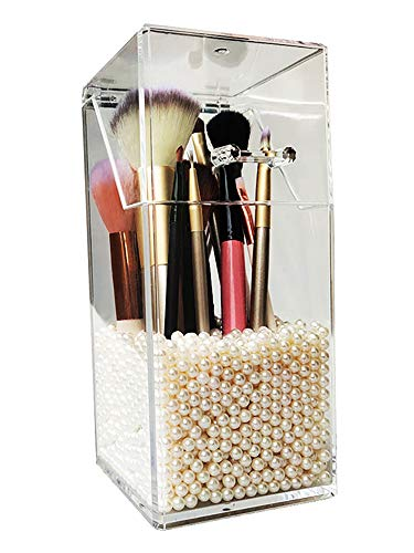 Makeup Brush Holder,Cosmetic Brush Organizer with Lid,Dustproof Makeup Brush with Free Pearls (Makeup Brush Holder Cover)