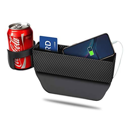 LOHO WONDERZ - Bolsillo lateral para asiento de coche, funda de fibra de carbono, organizador de bolsillo lateral para teléfonos móviles, monedero con soporte para tazas, color negro