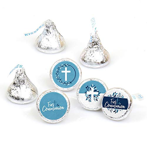 First Communion Blue Elegant Cross - Boy Religious Party Round Candy Sticker Favors - Labels Fit Hershey's Kisses (1 Sheet of 108) -