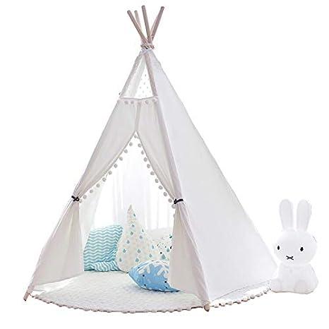 little dove Tipi Spielzelt für Kinder 100% Natürliches  Baumwollsegeltuch,Kinderzelt, Spielhaus, mit Matte