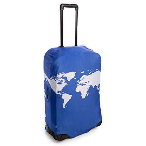 American Tourister Luggage Cover - Cobalt Blue World Map Fits 24 To 27 Suitcase