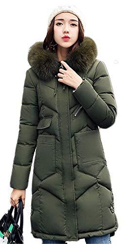 Trench Alto Piumino Lunga Invernali Screenes Donna Qualità Grün cerniera Cappotti Anteriori Alta Monocromo Collo Con Caldo Tasche Giacca Manica Con cappuccio Hq5fPw