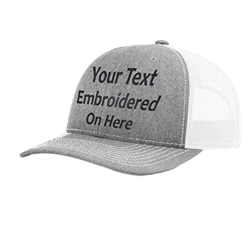 Custom Richardson 112 Hat with Your Text Embroidered Trucker Mesh Snapback Cap (Adjustable Snapback Split Colorway, Heather Grey/White)