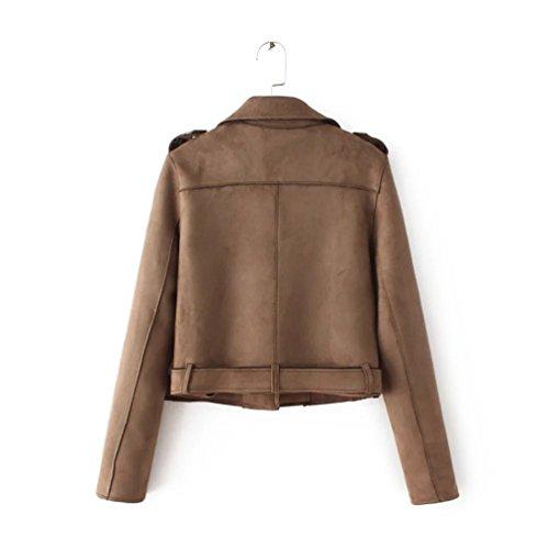 PU Cuir Classique clair Blouson Bomber Femme Automne Manteau Baymate Fermeture Veste Jacket Caf en ZTaRw
