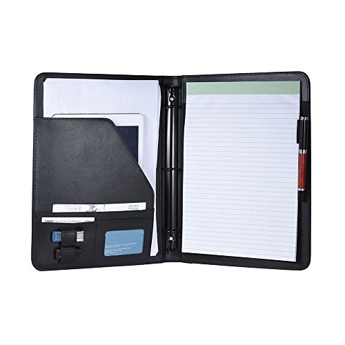 Aibecy Professional Business Portfolio Padfolio Folder Document Case Organizer A4 PU Leather with Business Card U Flash Disk Holder Memo Note Pad Loose-Leaf Loop (A) (Box Leather Memo)