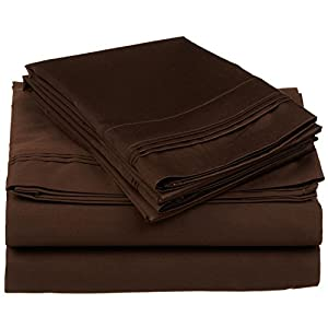 100% Egyptian Cotton 650 Thread Count, California King 4-Piece Sheet Set, Deep Pocket, Single Ply, Solid, Chocolate