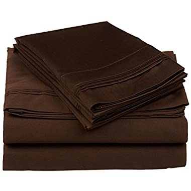 100% Premium Long-Staple Combed Cotton 650 Thread Count, King 4-Piece Sheet Set, Deep Pocket, Single Ply, Solid, Chocolate