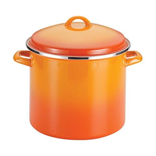 Rachael Ray Enamel on Steel 12-Quart Covered Stockpot, Orange Gradient