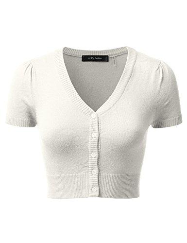 JJ Perfection Women's Button Down Short Sleeve V-Neck Bolero Cropped Cardigan WHITE L