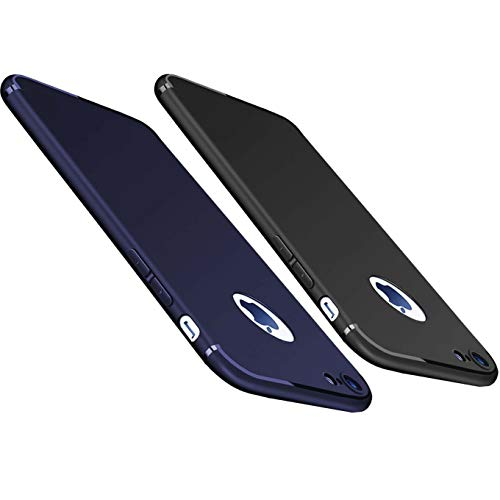 "2Pack Compatible with iPhone 6 Plus / 6S Plus (5.5"") Case,Soft TPU Matte Finish Coating Grip Ultra Thin Light Protective Scratch Resistant Naked Texture Mobile Phone Cover-Black+Dark Blue"