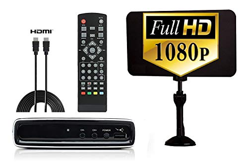 Electronics : Digital Converter Box + Flat Antenna + HDMI Cable for Recording & Watching Full HD Digital Channels for Free (Instant & Scheduled Recording, 1080P, HDMI Output, 7 Day Program Guide & LCD Screen)