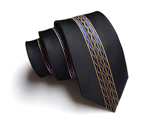 CityRaider Men's Skinny Tie,Black Silk Necktie for Weddings,Groom,Groomsmen,Missions,Dances,Gifts.