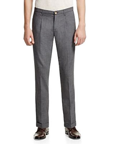 NEW $495 ELEVENTY GRAY 95% WOOL PENCES TRAVEL PLEATED CUFFED DRESS PANTS SZ 36 by Eleventy (Image #1)