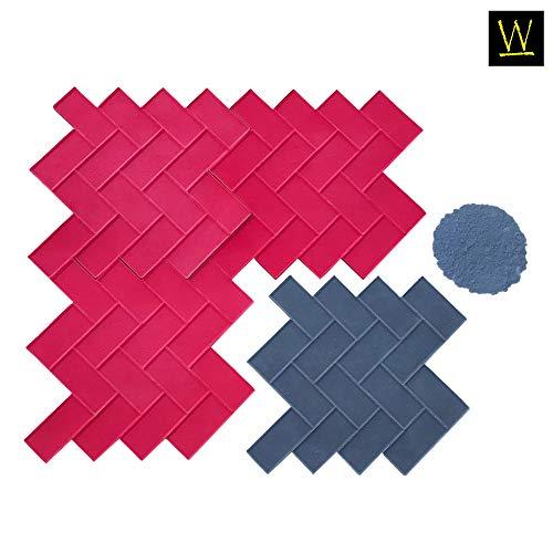 Walttools Herringbone Paver Concrete Stamp Set Classic Weaving Brick Pattern, Sturdy Polyurethane Texturing Mats, Decorative Realistic Detail (8 -