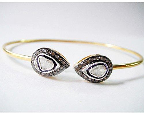 Sparkling Pave Polki Diamond 14K Gold Plated thin cuff Bracelet Jewelry Sparkling Pave Bracelet