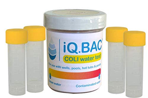 iQ.BAC COLI   Water Test Kit   Detect E.Coli & Coliform   Use in Drinking Water, Wells, Pools, Hot Tubs or During Travels   4 Pack by iQ.BAC