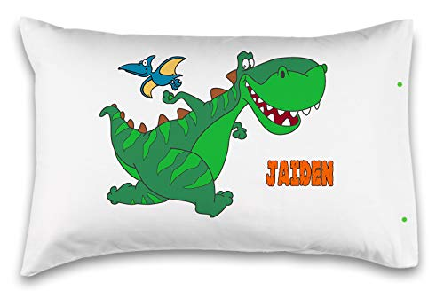 "Kids Decorative Pillowcase,""GREEN DINOSAUR"". Personalized With Your Child's Name! - Perfect Custom Gift For Children Of All Ages! 100% Super Soft Microfiber! (Standard 20""X30"")"
