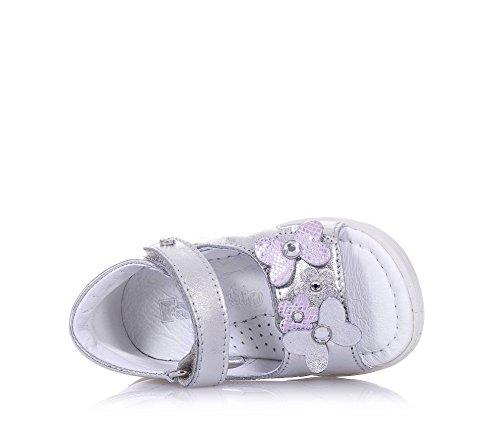 FALCOTTO - Sandale argent changeant en faux cuir, idéale pour les premiers pas et pour ramper, avec fermeture en velcro, Fille, Filles