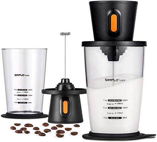 SIMPLETASTE Electric Milk Frother with Pitcher, Hands-free Battery Powered Foam Maker for Nespresso, Cappuccino and…