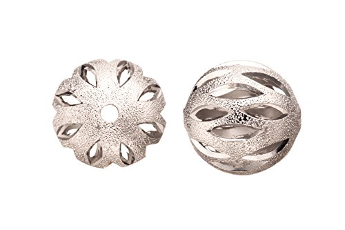 (Brass Bead, Rhodium-Finished Stardust with Marquise Cut Out, 18mm Round sold per pack of 4 (2pack bundle), SAVE $1)
