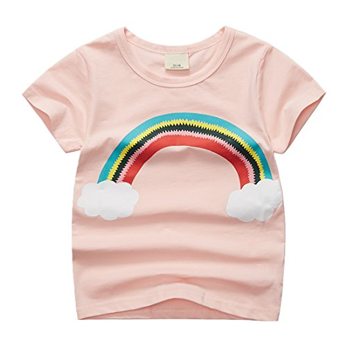 Sooxiwood Little Girls T-Shirt Rainbow Cloud Cute Size 6 Light-Pink