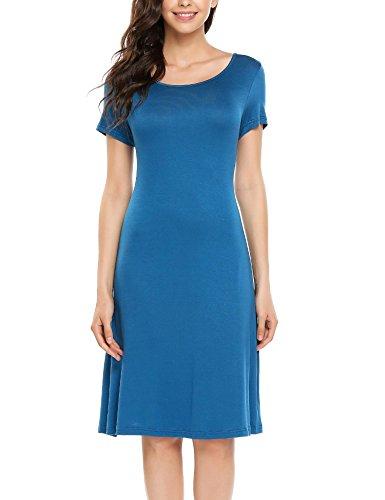 Elesol Women Simple Designed Short Sleeve Round...