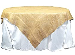 Kel-Toy Jute Burlap Table Topper with Overlock Edge, 60 by 60-Inch, Natural
