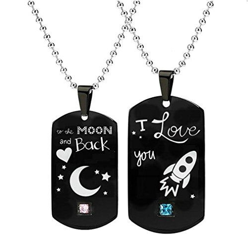 NEW-EC Promise Couples Necklace I Love you to the moon and back Initial Customize Stainless Steel Engraved Army Tags Relationship Pendant Necklace for Boyfriend Girlfriend Him Her Engagement Gift ()