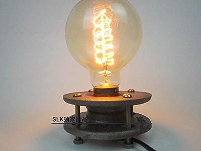 INJUICY LIGHTING Edison Bulb Vintage Retro Industrial Table Lamp Metal Iron Loft Desk Light Bar Cafe Bedroom Stand Table Light Indoor Living Room Lighting Decoration