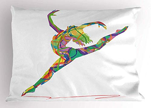 - Ustcyla Dance Pillow Sham, Abstract Figure a Dancer Lively Colored Random Lines Jumping Ballerina Print, Decorative Standard Queen Size Printed Pillowcase, 30 X 20 Inches, Multicolor