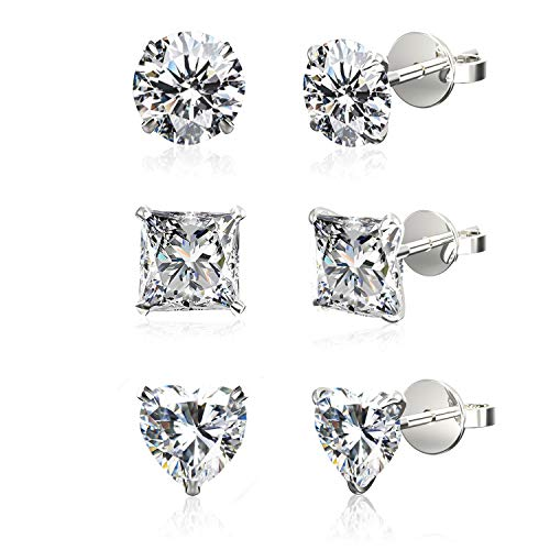 Set of 3 Pairs .925 Sterling Silver Cubic Zirconia Stud Earrings in Round, Princess, Heart Shapes, - 4 Mm Heart Shape
