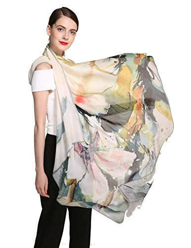 Jeelow Georgette Silk Scarfs Square/Shawl/Sheer/Chiffon For Women 100% Silk 9 momme Lightweight Scarves Shawls Wraps 47.2in Square For Hair (flower burst)
