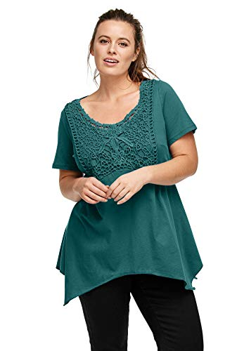 Ellos Women's Plus Size Crochet Trim Empire Tunic - Evergreen, S