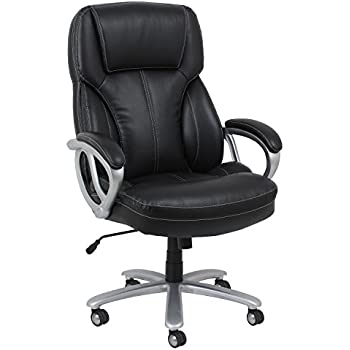 Essentials Big and Tall Leather Executive Chair - High Back Office Chair with Arms, Black (ESS-202-BLK)