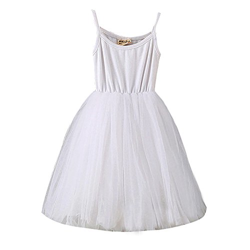 - Baby Girls Tutu Dress Sleeveless Infant Toddler Sundress Tulle Bubble 5 Layers White
