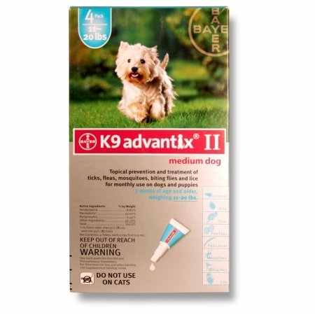 BAYER 004BAY-04458498 K9 Advantix II for Medium Dogs 11 - 20 lbs, Teal - 4 Months
