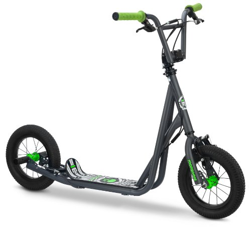 - Mongoose Expo Scooter, Featuring Front and Rear Caliper Brakes and Rear Axle Pegs with 12-Inch Inflatable Wheels, Green/Grey