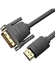 كابل HDMI إلى DVI ، DVI-D ثنائي الاتجاه 24 + 1 ذكر إلى HDMI ذكر عالي السرعة 1080P فل اتش دي ام اي متوافق مع الكمبيوتر PS4 Raspberry Pi، Xbox Laptop Macbook DVD BluRay Screen Display (2 م)