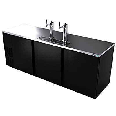 """Direct Draw Beer Cooler, 95?1/2"""", three?section, (3) solid doors, (2) stainless steel draft towers with dual taps, (5) keg capacity, Asber ADDC-94"""