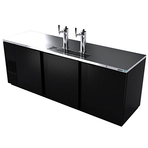 Direct Draw Beer Cooler, 95‐1/2', three‐section, (3) solid doors, (2) stainless steel draft towers with dual taps, (5) keg capacity, Asber ADDC-94